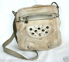 Kathy Van Zeeland Tan Beige Faux Suede Shoulder / Handbag Purse w/Metal Studs