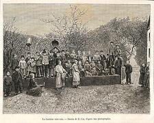 ALSACE LA FONTAINE SANS EAU DESSIN DE LIX GRAVURE ENGRAVING 1885