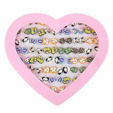 Kids 72pc Costume Earring Set In Heart Display Case -  Cartoon Animals Panda etc