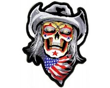 RODEO SKULL BACK PATCH grandi ricamate aufbügler Biker Patch HARLEY USA FLAG Cowboy