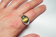 SPECTACULAR MEN'S 4.36 ct CAT'S EYE QUARTZ +14K RING - VALUED AT $3400