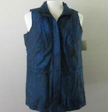 COLDWATER CREEK womens Large 14 16 dark blue zip front poly fill vest NEW