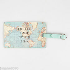 SASS & BELLE VINTAGE TIME TO GO WORLD MAP LUGGAGE TAG LABEL STRAP TRAVEL HOLIDAY