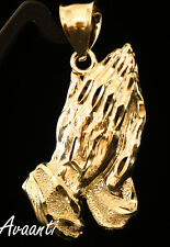 Real 10k Gold Praying Hands in Diamond Cut Design Pendant Charm Piece