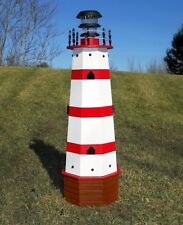 """36"""" Solar lighthouse wood decorative lawn and garden ornament - red stripes"""