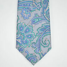 NWT COUNTESS MARA Paisley Naples Print Aqua Blue 100% Silk Neck Tie