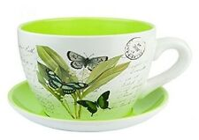 Ceramic Tea Cup and Saucer Planter, Garden, Home (butterfly) Oversized