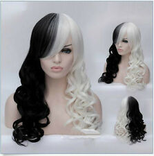 Hot Women's Long Wave Half Black and Half White Cosplay Anime Full Hair Wigs+Cap