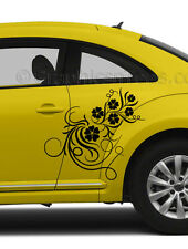 VW Beetle Flower Car Sticker, Custom Vinyl Graphic Decals Girly Car Sticker
