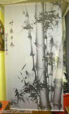 Fabric Screen Curtain Room Divider with Chinese Painting Black Bamboo M2-R5
