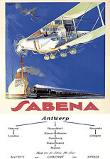 Art Ad Sabena Antwerp Flights Europe Airline Travel   Deco Poster Print