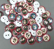 50pcs Wooden Buttons Christmas reindeer snowman pattern sewing scrapbooking 15mm