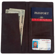 Genuine Leather Brown Passport Holder, Womens US Travel Card Case Money Wallet