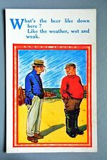 R&L Postcard: HB Comic 4445 Beer & Weather Wet and Weak