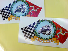 ISLE OF MAN CHEQUERED Road Races All TT fans Car Motorcycle Stickers 2 off 100mm