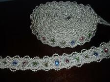 "Beautiful Scalloped Pearl Beaded Trim With Rhinestones~1 Yard Long~1"" Wide"