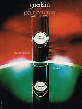 PUBLICITE ADVERTISING 015  1979  GUERLAIN   parfum pour homme  HABIT ROUGE VETIV