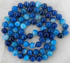 """8mm Natural Blue Stripe Agate Onyx Gem Round Beads Necklace 35"""""""