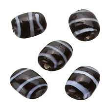 Striped Black Flat Barrel Glass Beads 18x14x7mm Pack of 5 (B20/1)