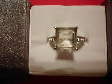 Green Amethyst Square Solitaire Ring w/Austrian Crystal Accents in Stainless