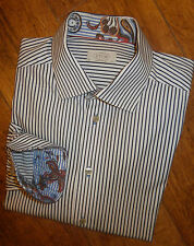 "ETON CONTEMPORARY 17.5"" COLLAR NAVY WHITE STRIPE SHIRT LONG SLEEVE CHEST 46"