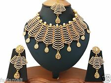 DESIGNER PARTYWEAR GOLD PLATED KUNDAN ZERCONIC NECKLACE SET JEWELRY EARRING TIKA