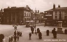 Victoria Square Bolton Tram RP old pc used 1910/20's EAS