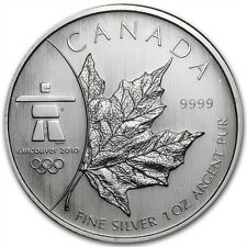 2008 Canadian Maple Leaf Vancouver Olympics 1 oz .9999 Silver Coin (Mint Sealed)