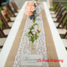 US 10pcs Hessian Burlap Lace Table Runner For Xmas Wedding Party New Year Decor