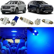 9x Blue LED lights interior package kit for 2017 & Up Hyundai Santa Fe YF2B