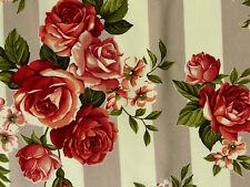 Biedermeier Rosenstoffe Nostalgie Stoffe Rosen Streifen grau creme rot burgunder