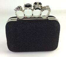 Black Box Evening Clutch with Jewel Ring Knuckles