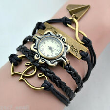 1D~ WATCH CHARM BRACELET+TWIN HEARTS+INFINITY+ONE DIRECTION+AIRPLANE+LEATHER
