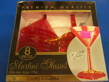 Red Glitter Christmas Holiday Cocktail Solid Color Party Plastic Martini Glasses