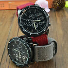 New Men's Military Sport Quartz Watch Big Face Canvas Strap Analog Wristwatch