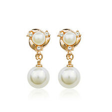 18K GOLD PLATED GENUINE AUSTRIAN CRYSTAL DANGLE PEARL CLIP-ON  EARRINGS