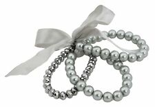 Zest Set of 3 Round & Faceted Bead Stretch Bracelets with Ribbon Bow Grey