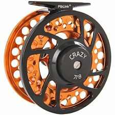 Fly Fishing Reel with Large Arbor 2+1 BB CNC machined, Saltwater, 7/8 Wt, Orange
