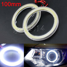 2pc COB Chip LED Car Angel Eye Light Headlight Halo Ring DRL Plastic Cover 100mm