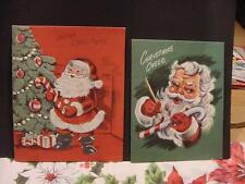 Vintage Lot of 2 CHRISTMAS Cards: SANTA Painting Candy Cane + Holding Huge Cane
