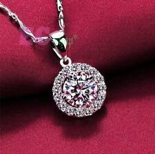 lady 925 Sterling Silver Austrian Crystal round cut AAA CZ pendant necklace N49