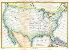 1870 Coastal Survey Map Showing Magnetic Declination in the United States