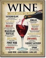 Wein Karte Weltweit - USA Metall Bar Deko Schild Info Plakat Weine