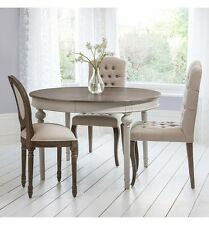 COUNTRY SHABBY CHIC FRENCH COOL GREY ROUND EXTENDING DINING TABLE SEATS UP 6
