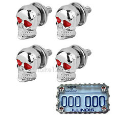 4x Chrome Skull License Plate Bolts for Harley Davidson XL Sportster 1200 883