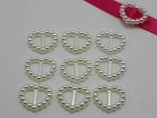 200 Ivory Pearl Heart Buckle Invitation Ribbon Slider 17X14mm For Wedding