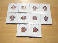 1990 1991 1992 - 1995 1996 1997 1998 1999 S Lincoln Cent Penny Proof 10 Coin Set