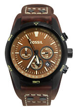Fossil CH2990 Coachman Chronograph Date Analog Dial Brown Leather Band Watch New