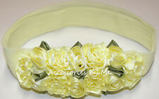 Yellow Rose Nylon Headband Flowers Floral 1st Baby Girls Newborn Reborn Easter