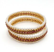 Asian Bridal Indian Traditional Jewellery Polki Pearls Bangles Size:2.4